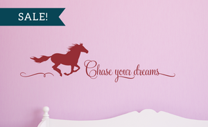 ON SALE, Dark Red, Chase Your Dreams Vinyl Wall Decal, Horse Vinyl Decal