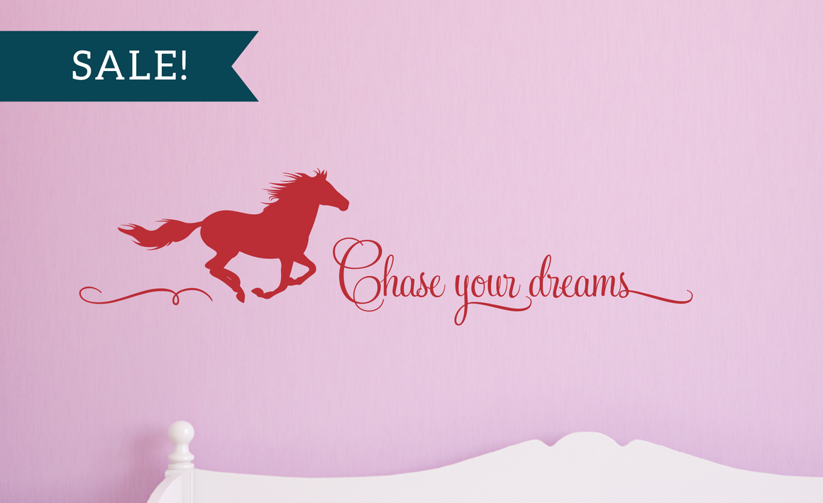 ON SALE, Red, Chase Your Dreams Vinyl Wall Decal, Horse Vinyl Decal