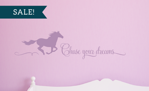 ON SALE, Lilac, Chase Your Dreams Vinyl Wall Decal, Horse Vinyl Decal