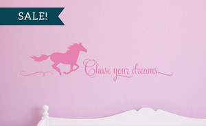 ON SALE, Soft Pink, Chase Your Dreams Vinyl Wall Decal, Horse Vinyl Decal