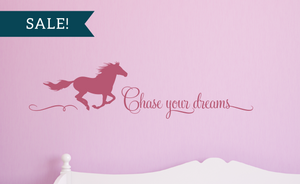 ON SALE, Lipstick, Chase Your Dreams Vinyl Wall Decal, Horse Vinyl Decal