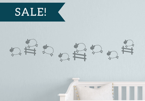 ON SALE, Grey, Counting Sheep Vinyl Decal