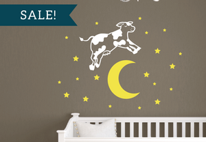 ON SALE, White & Brimstone Yellow, the Cow Jumped Over the Moon Vinyl Decal Set