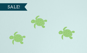 ON SALE, Key Lime Pie, Baby Sea Turtles Wall Decal Set - Set of 3