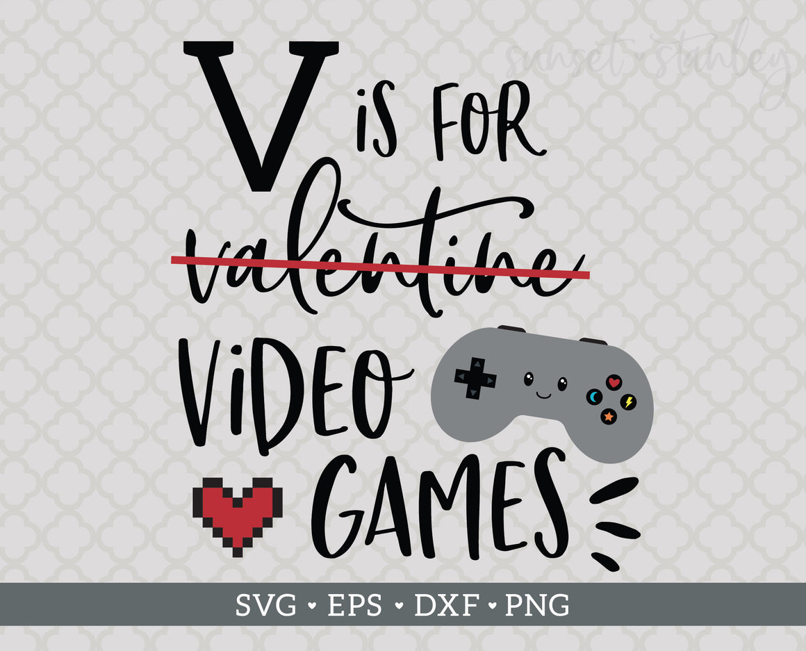 V is for Video Games, Valentine Cutting File - SVG, EPS, DXF, PNG - Instant Download - Red