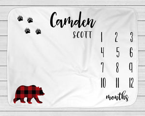 Milestone Blanket with Bear, Red & Black Buffalo Check