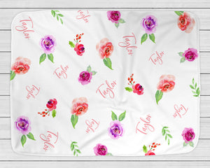 Personalized Baby Blanket with Watercolor Roses, Purple, Pink & Coral