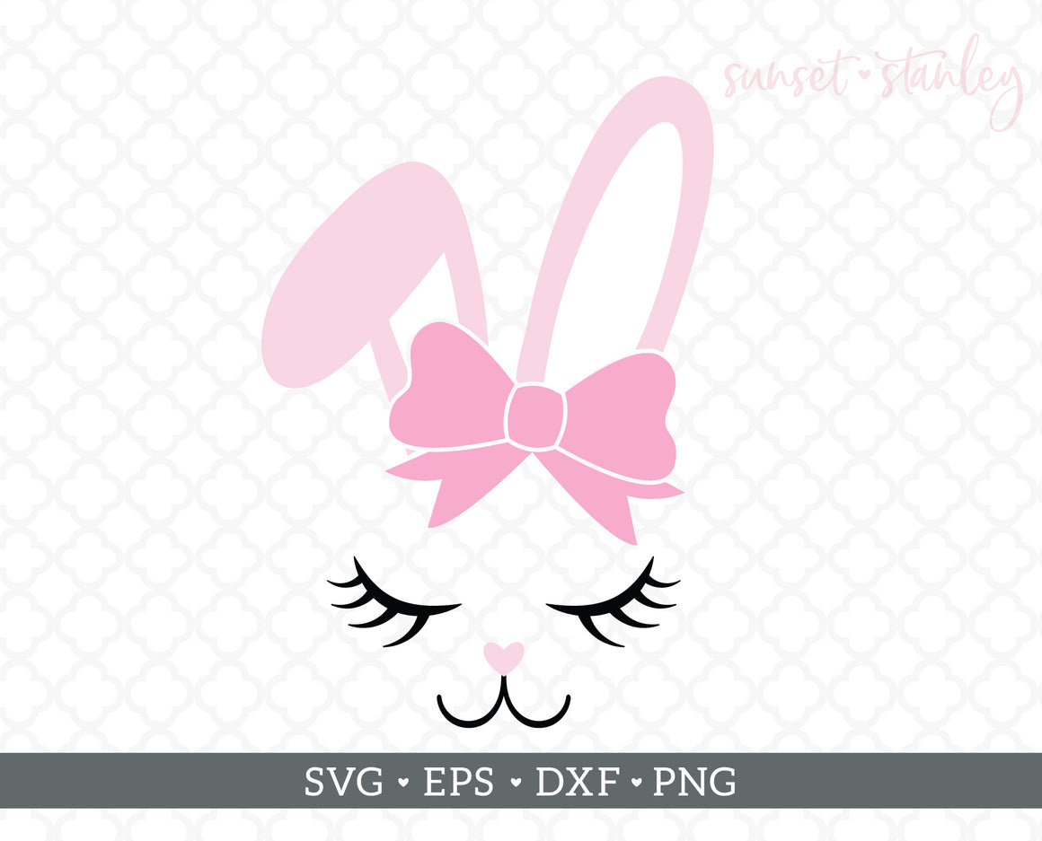 Bunny Face with Bow SVG File, Easter Cutting File - SVG, EPS, DXF, PNG - Instant Download