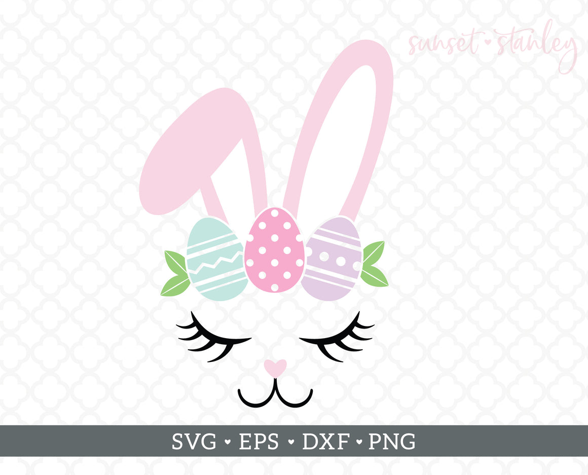 Bunny Face with Easter Eggs SVG File, Easter Cutting File - SVG, EPS, DXF, PNG - Instant Download
