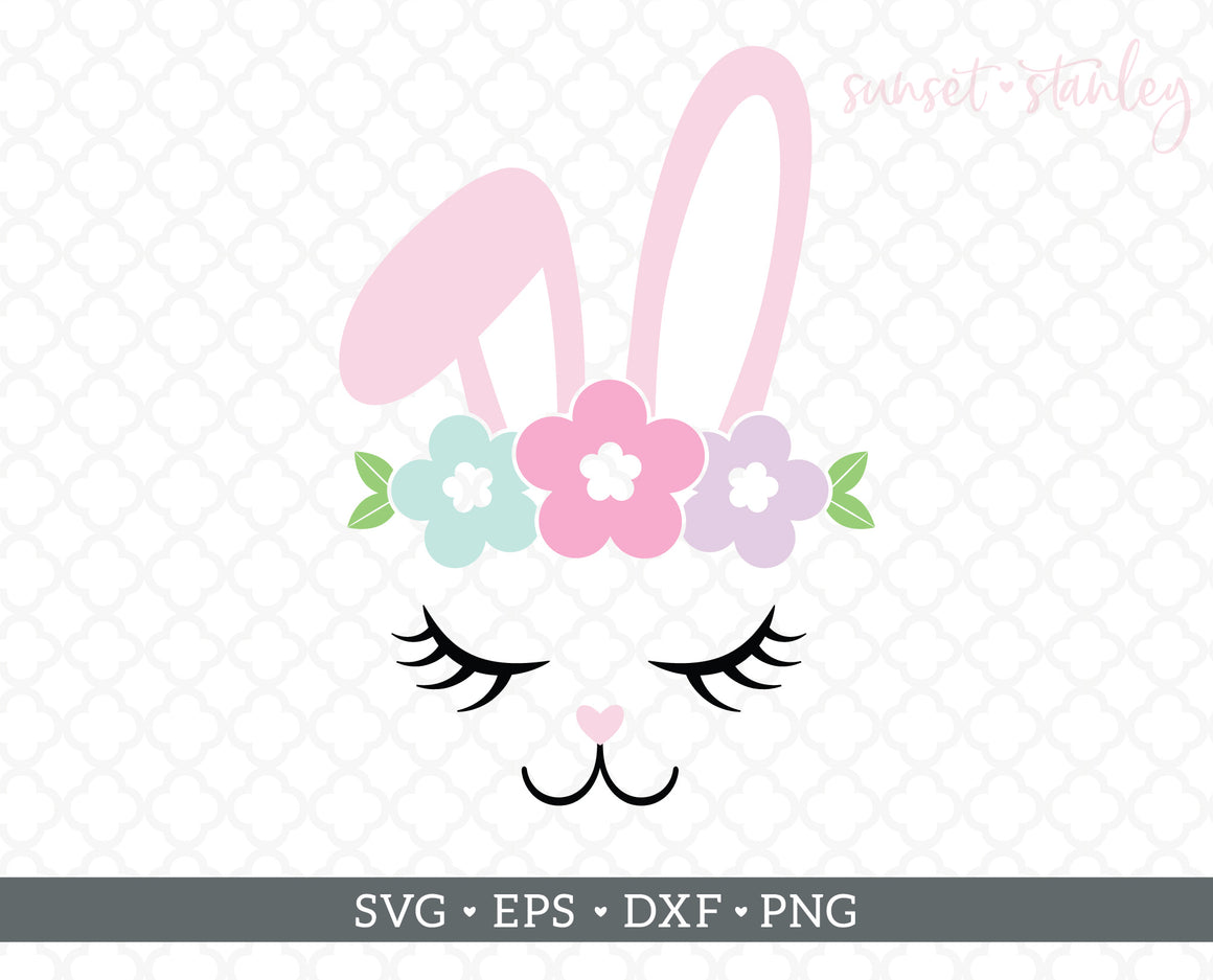 Bunny Face with Flowers SVG File, Easter Cutting File - SVG, EPS, DXF, PNG - Instant Download