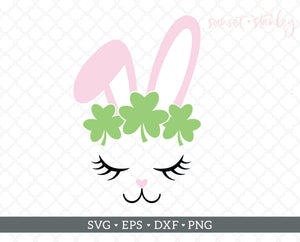 Bunny Face with Shamrocks SVG File, St.Patrick's Day Cutting File - SVG, EPS, DXF, PNG - Instant Download