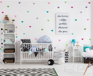 "2"" Heart Wall Decals for Girls, Easy Peel & Stick Decals, Set of 72"