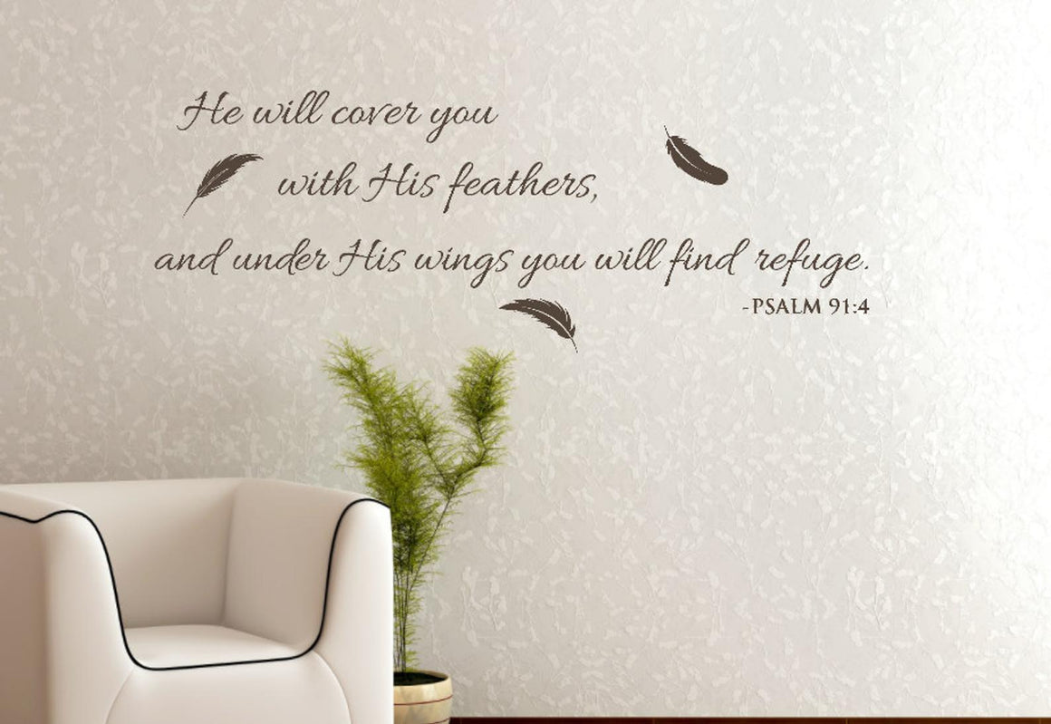 He Will Cover You Wall Decal, Psalm 91:4 Bible Quote Wall Decor
