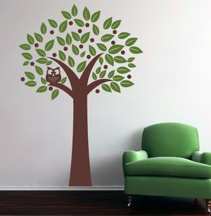 Owl in a tree Vinyl Wall Decal Set