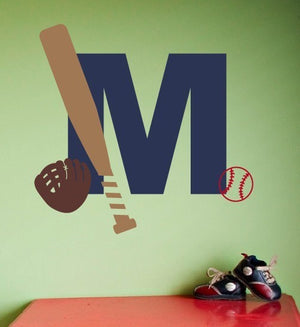 Baseball Monogram Wall Decal Set