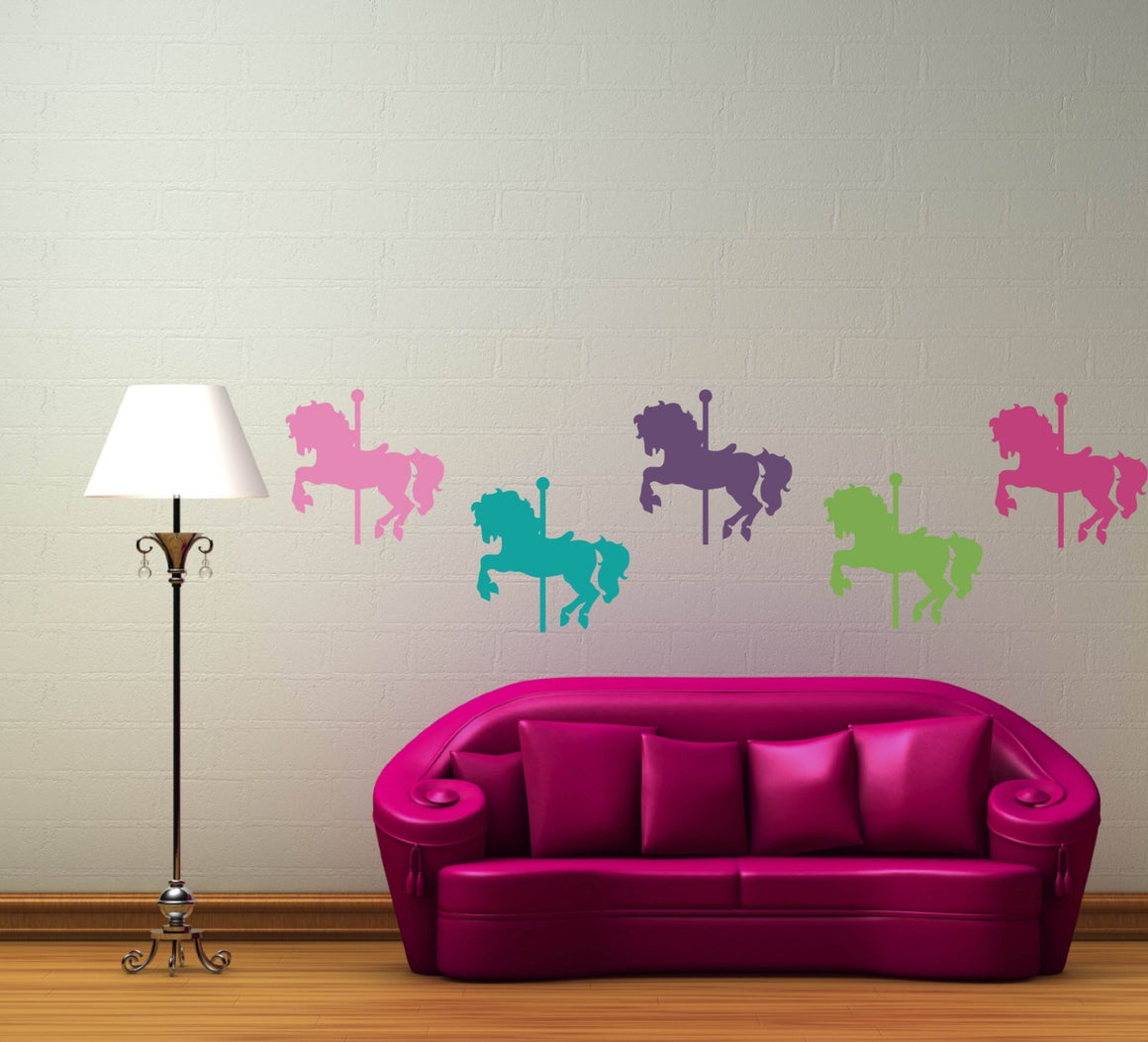 Carousel Horses Vinyl Wall Decal Set - Set of 5