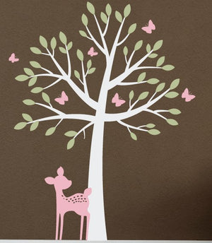 Tree with Butterflies and Fawn Wall Decal Set