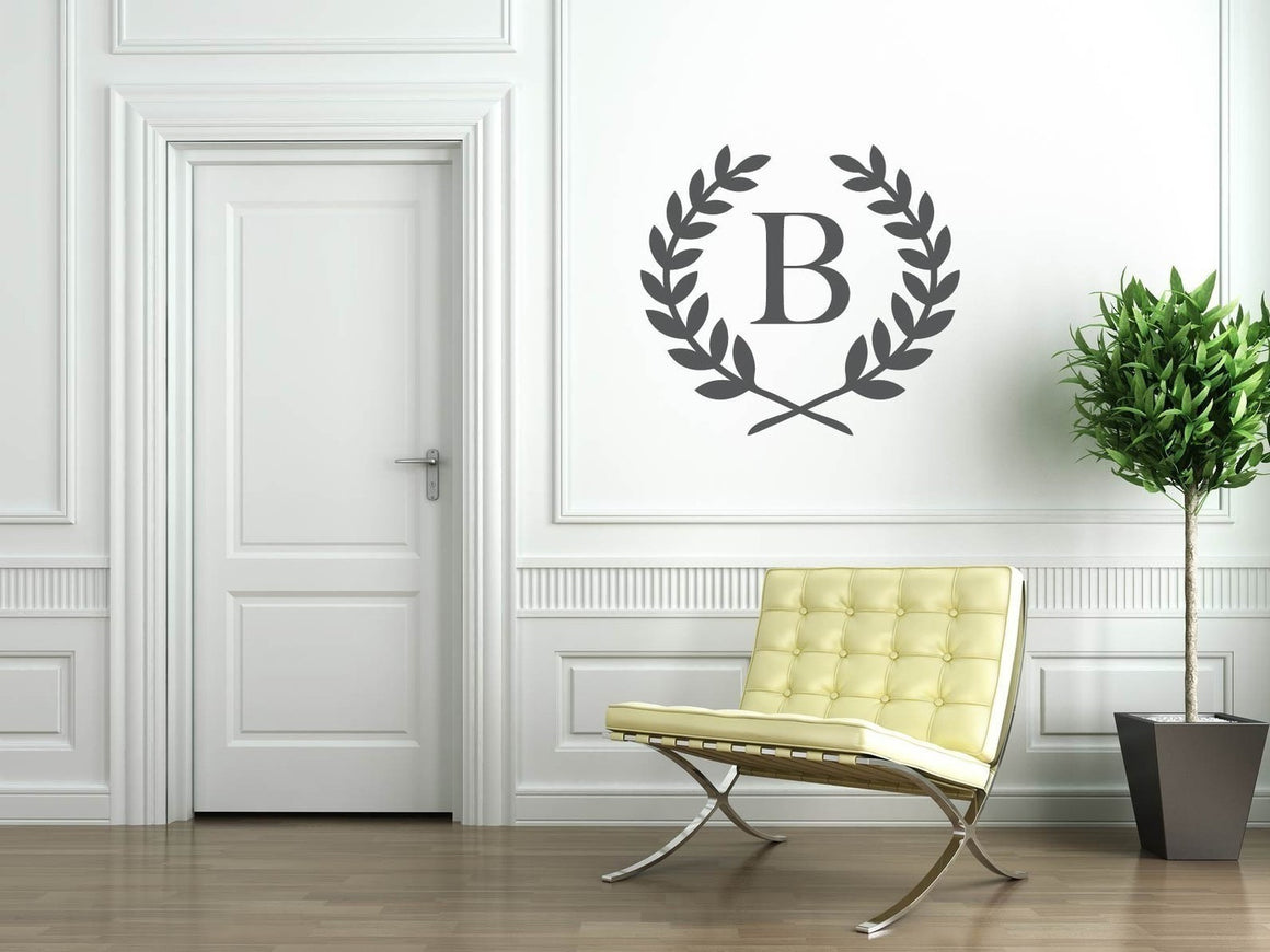 Laurel Wreath Monogram Vinyl Wall Decal