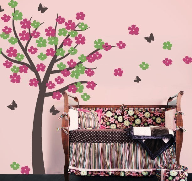 Tree with Blossoms and Butterflies Wall Decal Set