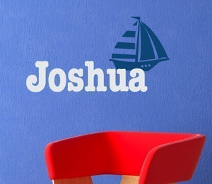 Sailboat with Name Wall Decal Set
