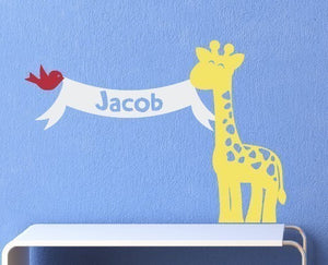 Giraffe with Name Banner and Bird