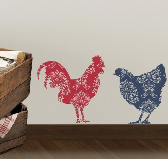Country Rooster and Chicken Vinyl Decal Set