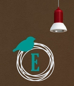 Bird Nest Monogram Wall Decal