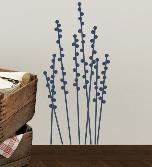 Dots Floral Stems Vinyl Wall Decal