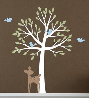 Tree with birds and fawn Wall Decal Set