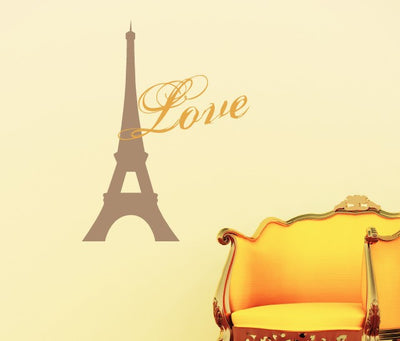 Paris Love Vinyl Wall Decal - tweetheartwallart