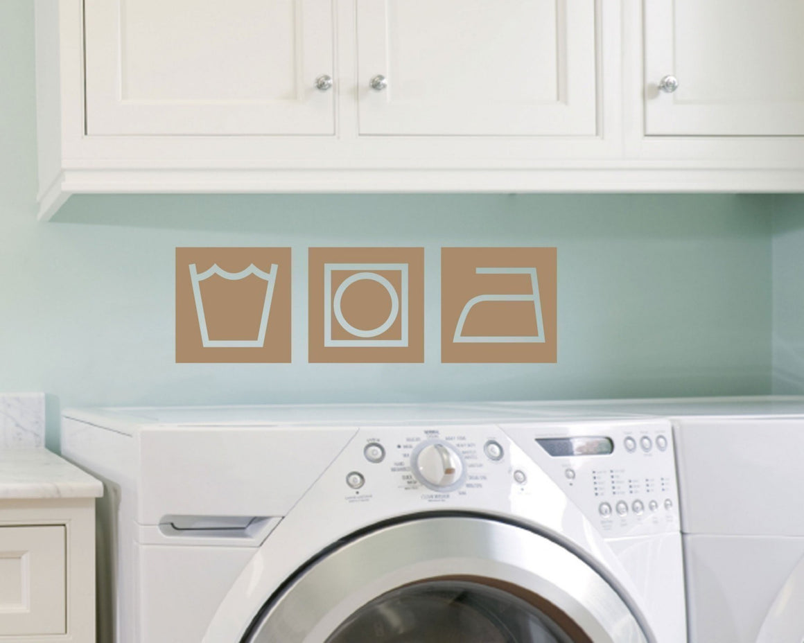 Retro Style Laundry Symbols Viny Wall Decal