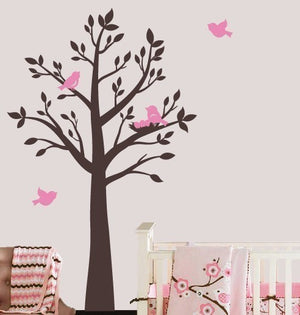 Tree with Birds and Nest Wall Decal Set