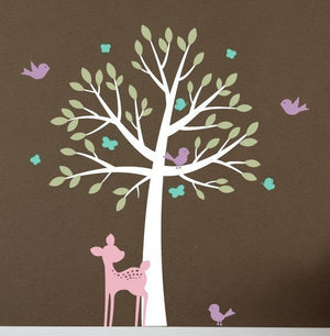 Tree & Fawn Wall Decal - Woodland Friends Set