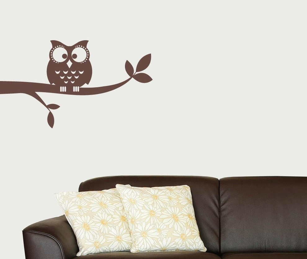 owl on a branch vinyl wall decal tweetheartwallart. Black Bedroom Furniture Sets. Home Design Ideas