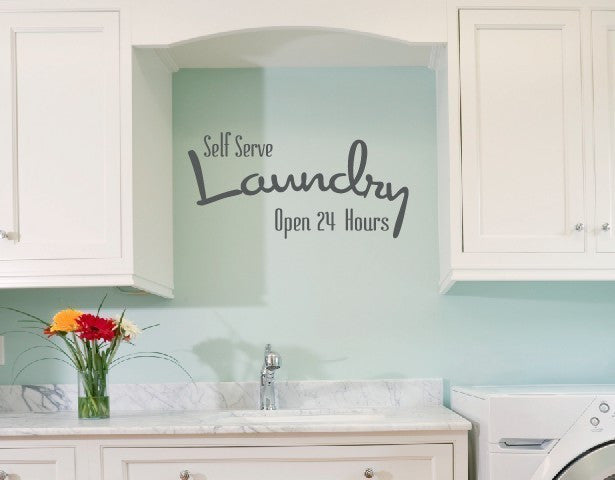 Self Serve Laundry Room Vinyl Wall Decal