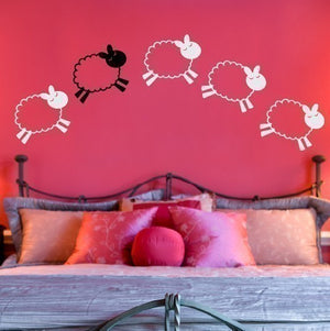 Counting Sheep Vinyl Wall Decal - Nursery Children Baby
