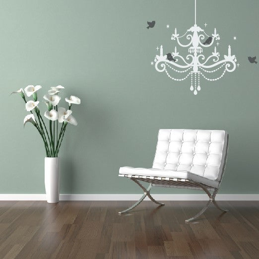 Chandelier with birds vinyl wall decal tweetheartwallart chandelier with birds vinyl wall decal mozeypictures Gallery