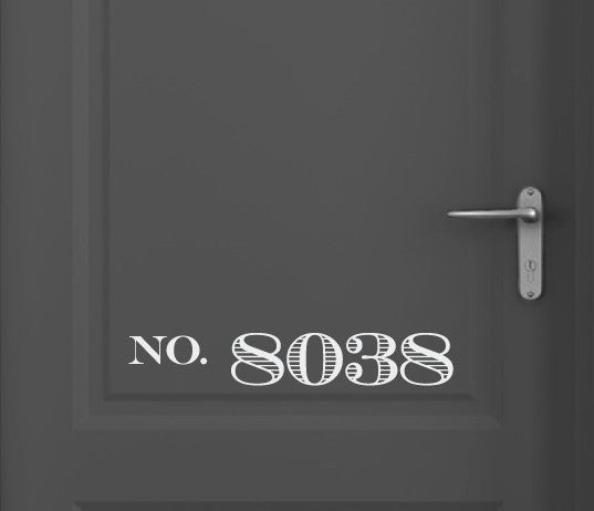 Custom House Number Door Vinyl Decal