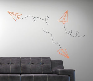 Paper Airplane Wall Decal Set