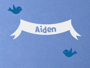 Name Banner with Birds Wall Decal Set