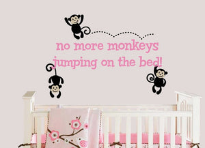 Monkeys Jumping on the Bed Wall Decal Set