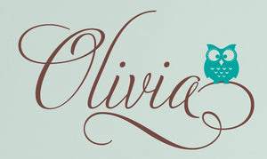 Swirly Name Decal with Owl