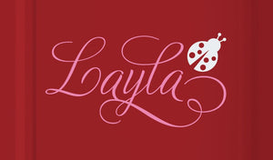 Swirly Name Decal with Ladybug