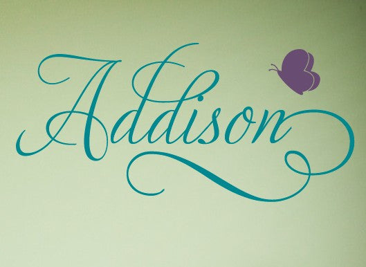Swirly Name Decal with Butterfly