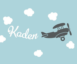 Name Decal with Airplane and Clouds