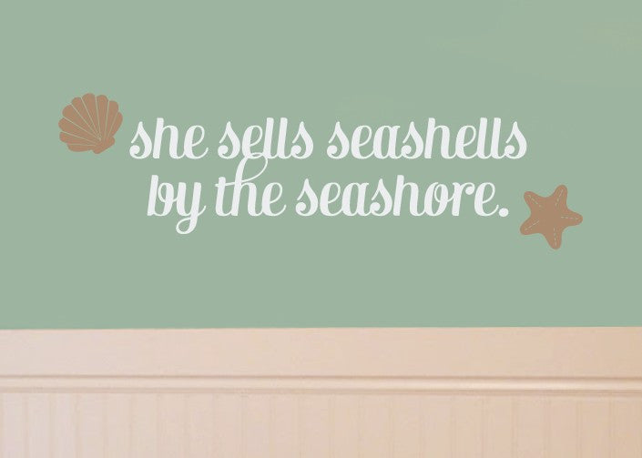 She Sells Seashells Vinyl Wall Decal Set