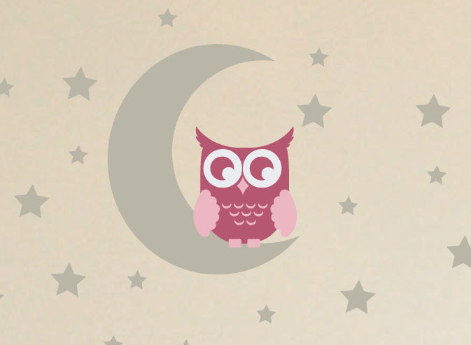 wall tattoo MOON OWLS wall decals child wall stickers baby wall tattoos owls decoration illustration moon wall tattoo moon sticker viilou
