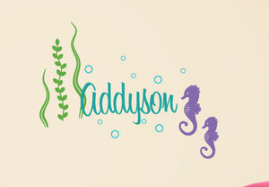 Name Decal with Seahorses