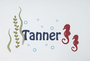 Name Decal with Seahorses Wall Decal Set