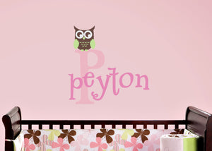 Name and Monogam with Owl Wall Decal Set